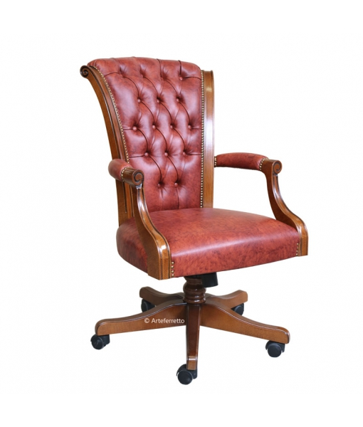 Upholstered executive armchair in wood and leather. Sku mimax