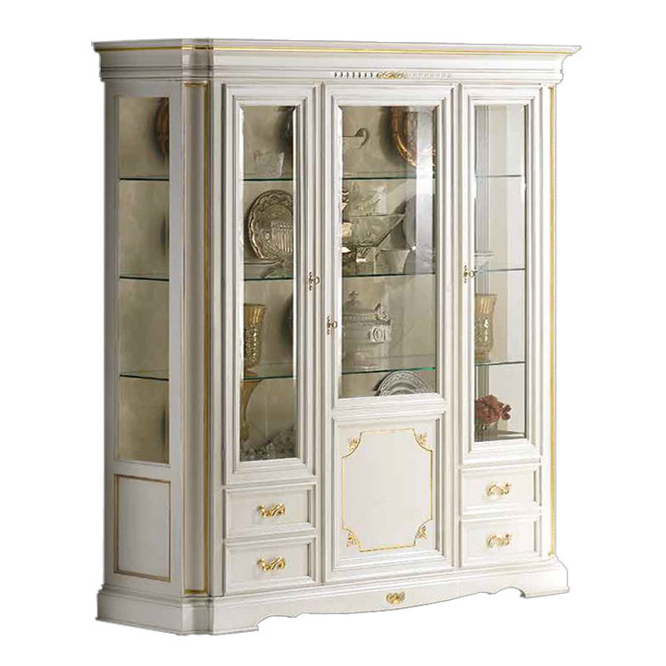 display cabinet, lacquered display cabinet, white and gold display cabinet, wooden cabinet, living room furniture, classic furniture,