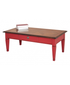 bicolored coffee table, coffee table, red coffee table, red furniture, classic furniture, italian design furniture, wooden coffee table, living room coffee table, living room furniture