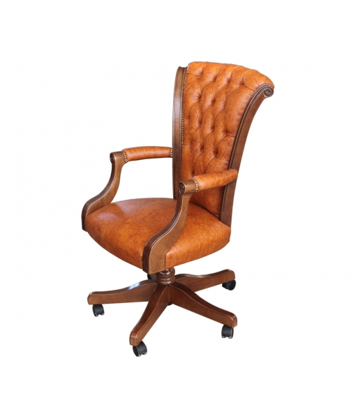 upholstered executive armchair, upholstered swivel chair, executive armchair, office armchair, buttoned backrest armchair, leather armchair, office furniture, study room furniture, swivel armchair in wood, wooden armchiar,