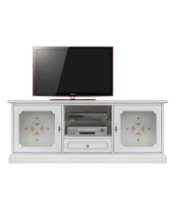 tv stand, lacquered tv stand, ivory tv stand, white tv cabinet, living room furniture, wooden tv stand
