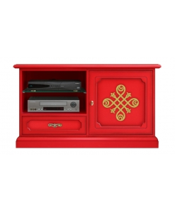 tv stand cabinet, red tv stand, red and gold tv stand, red furniture, living-room furniture, wooden tv stand