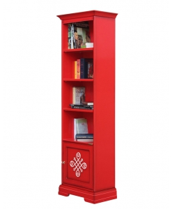 tall bookcase, bookcase, wooden bookcase, red bookcase, inlaid bookcase, office furniture, classic furniture, modern design, made in italy