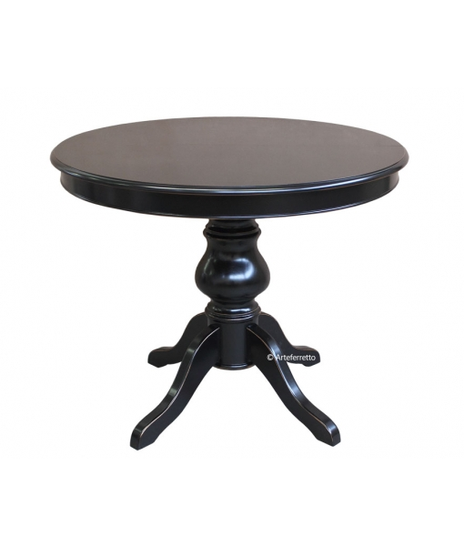 Extendable round black table. Sku 446-N-100