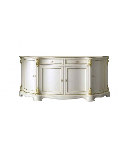 classical sideboard, classic sideboard, white sideboard, laquered sideboard, golden details, living-room furniture, Item n° A4