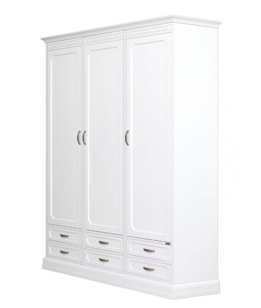 White wardrobe, bedroom furniture,Modular wardrobe, 3 doors and 6 drawers