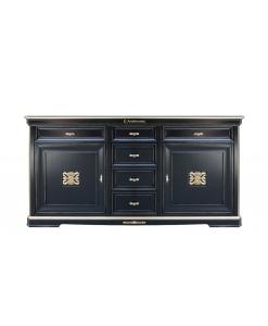black sideboard, classic sideboard, luxury sideboard, living-room furniture, black furniture, black and gold sideboard, big sideboard, classic furniture, italian design furniture,