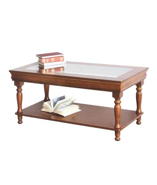 Louis Philippe coffee table with glass top, sku. 398