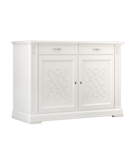 decorated sideboard, classic sideboard, dining room sideboard, white sideboard, 2 door sideboard, dining room buffet, wooden sideboard, sideboard in classic style, classic furniture, dining room furniture, living room sideboard