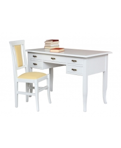 White desk with chair, chair, white desk, writing desk, office desk, wooden desk, desk with drawers, office furniture, study room, bedroom desk, classic furniture, classic desk, padded chair,