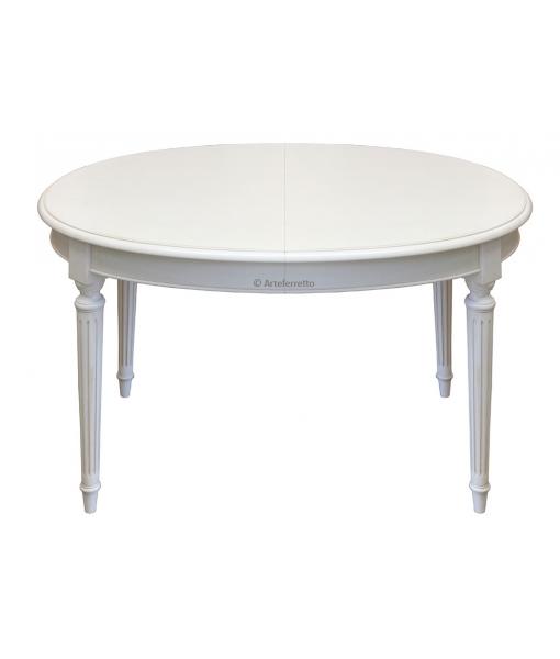 Oval dining table in White. Extendable table in Empire style. Sku FV-39AV