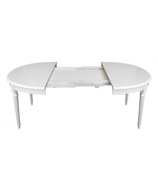 oval dining table, extendable table in Empire style, classic table, white table, kitchen table, dining room table, extended table, table with extensions,