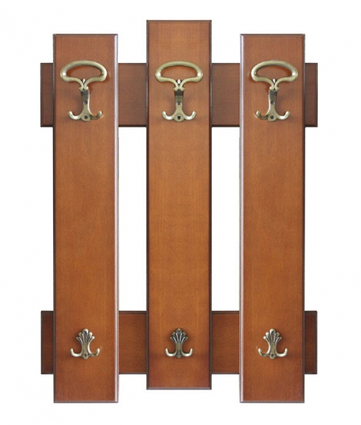 Wall hat and coat rack in wood with hooks. Sku. Ring3
