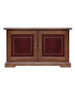 low sideboard, low cabinet, sideboard, dining room sideboard, small cabinet in wood, leather door, classic style, classic sideboard