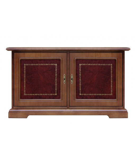 Low sideboard in wood with bordeaux leather doors. Sku 3836-BUL