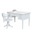 writing desk, desk with chair, study room furniture, wooden desk, white desk, white chair, office furniture