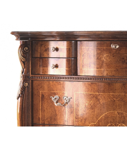 classic carved dresser, wooden dresser, classic furniture, bedroom furniture, classic style, inlaid dresser, chest of drawers, wooden chest of drawers, dresser with flap