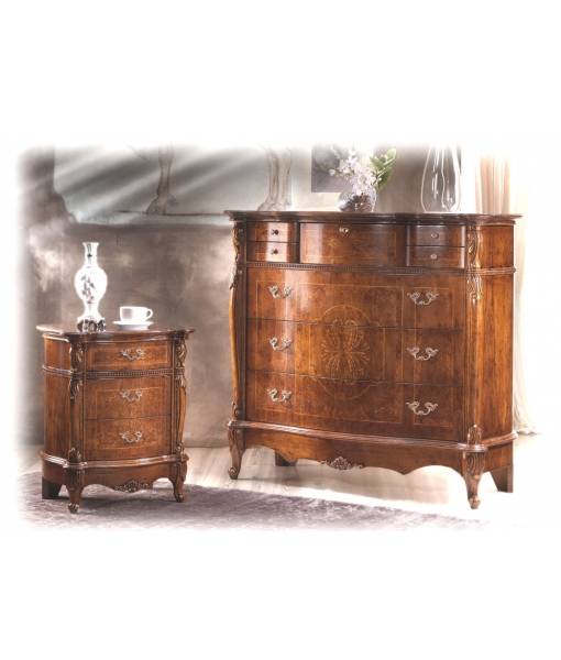 classic carved dresser, wooden dresser, classic furniture, bedroom furniture, classic style, inlaid dresser, chest of drawers, wooden chest of drawers, dresser with flap, bedside table, wooden bedside table,