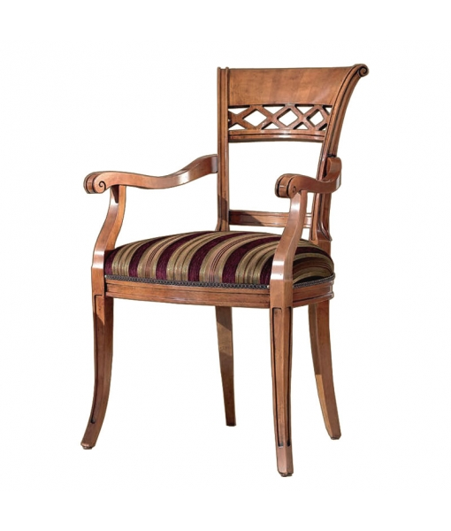 Armrests dining chair, carved wood. Sku. C-C050