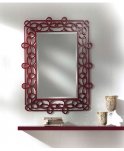 hallway furniture ideas, hallway furniture, entryway furniture, mirror and shelf, red mirror, red furniture,