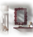 hallway furniture ideas,, hallway furniture, entryway furniture, mirror and shelf, red mirror, red furniture,
