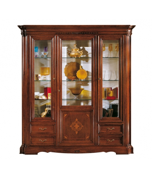 Glass display cabinet in wood for living room. Sku F05