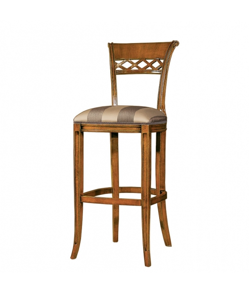 Classic backrest kitchen stool, padded stool, kitchen stool, wooden stool, kitchen furniture, classic furniture,