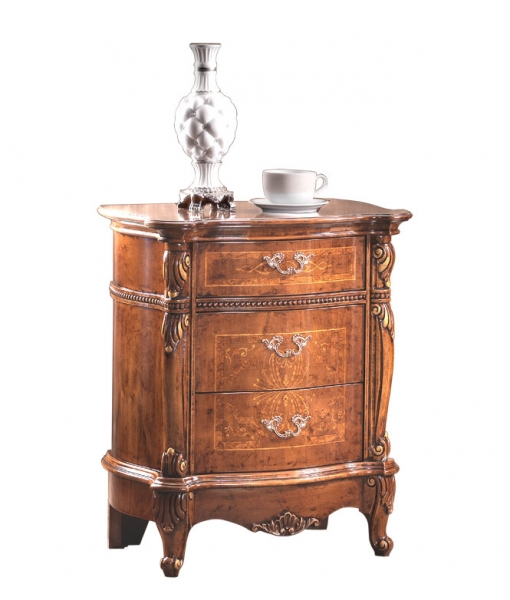 Inlaid bedside table carved wood for classic bedroom. Sku AG-01-C