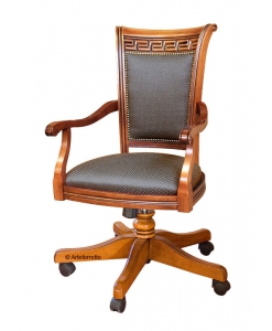 upholstered swivel office chair, swivel armchair, upholstered office armchair, wooden swivel armchair,