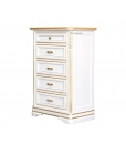 chest of drawers, chest of 5 drawers, small cabinet, nightstand, white nightstand, white cabinet, white and silver cabinet, bedroom furniture, wooden furniture