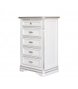 white chest of drawers, chest of 5 drawers, small cabinet, nightstand, white nightstand, white cabinet, white and silver cabinet, bedroom furniture, wooden furniture
