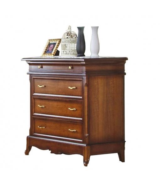 Four drawer dresser in wood for elegant bedroom. Sku G30-FS