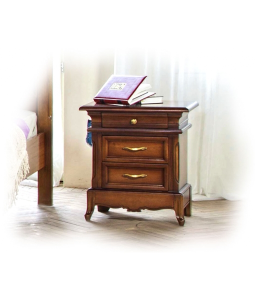 carved nightstand 3 drawers, wooden nightstand, 3 drawer bedside table, bedroom furniture, classic bedside table, classic style,
