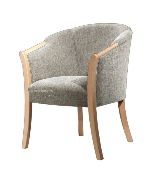 Upholstered living room tub armchair in natural colour. Sku GM-542