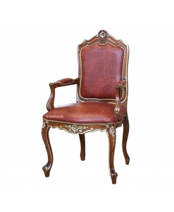 Armchair, dining room chair, classic head chair, golden leaf chair, silver leaf chair, wooden armrest chair, head chair in classic style, hall chair, classic furniture, living room chair, armchair
