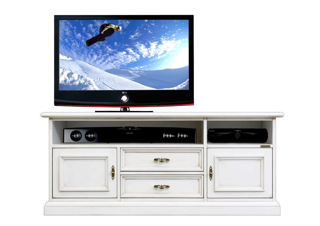 Low Tv Stand With Soundbar Shelf White Tv Unit Drawers And Doors