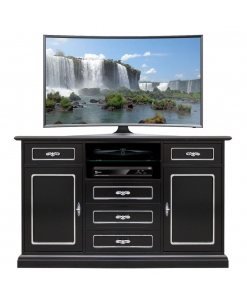 black tv cabinet, silver tv cabinet, tv unit, tv stand, wooden tv stand, black furniture, modern living room, luxory living room, black sideboard, sideboard for living room