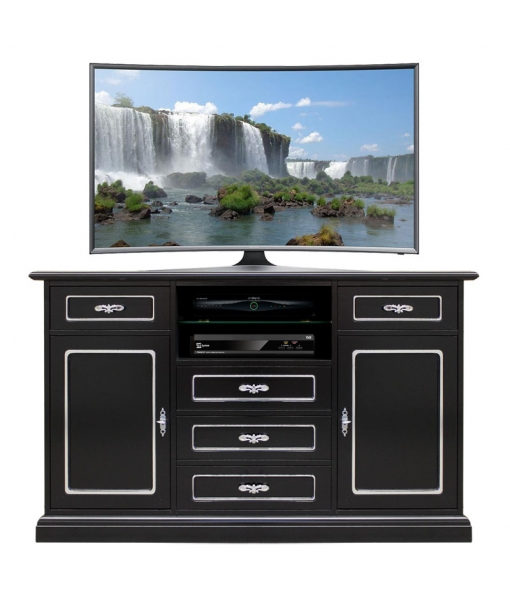 Black tv cabinet, luxory living room, silver leaf details. Sku 4047-N