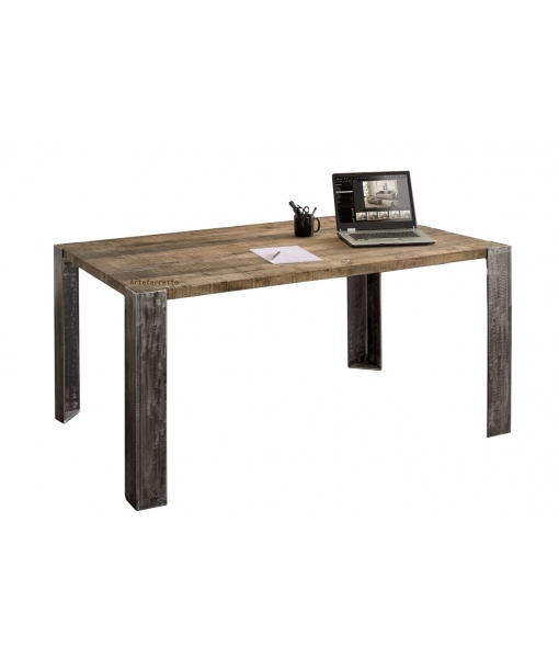 Industrial table for dining room. Oak and metal. Sku Rov-001