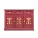 ruby dining sideboard, wooden cupboard, red furniture, colored furniture, gold patterns, 3 door sideboard, living room sideboard
