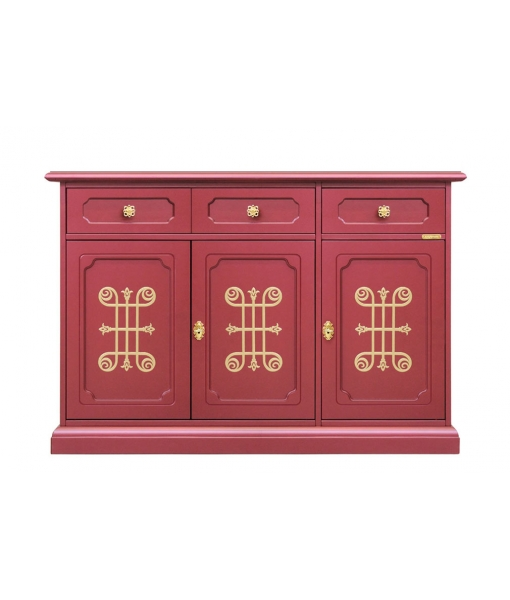 Ruby dining sideboard in wood with golden friezes. Sku 01-RU