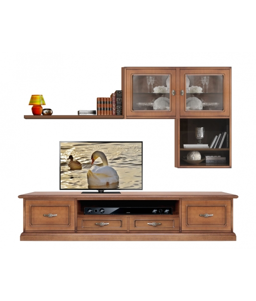 Wooden tv wall unit with tv cabinet. Sku CMB-102