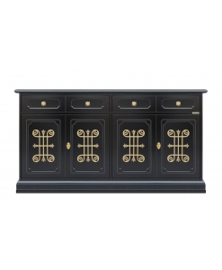 4 door black sideboard, wooden sideboard, black cabinet, dining cabinet, dining room funriture, living room furniture, black furniture, classic sideboard, italian original design, wooden sideboard, cupboard