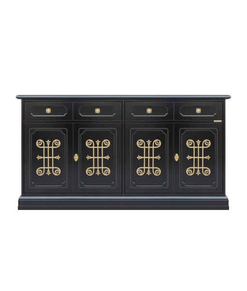 4 door black sideboard with golden details. Sku 3470-N-YOU