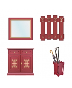 ruby hallway furniture in wood, entryway furniture, wooden cabinet, mirror, hat and coat rack, umbrella stand, 2 door sideboard, wooden furniture