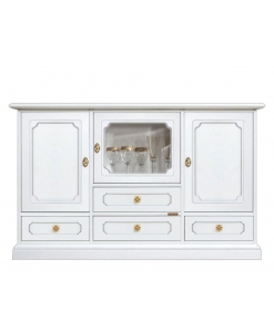 wooden cupboard, sideboard, dining sideboard, white sideboard, 3 door cupboard, 4 drawers sideboard, elegant sideboard, wooden sideboard, classic sideboard, glass door cupboard