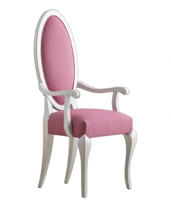 oval upholstered dining chair, elegant dining chair, oval chair, armrests chair, head-chair, wooden dining chair
