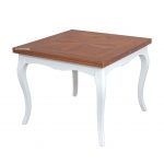 extendable squared table, flip top extending table, square two tone dining table, inlaid top table, sqaured wooden table