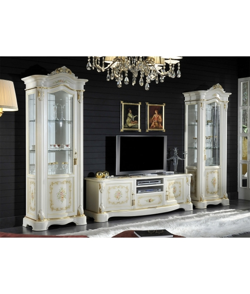 decorated classic display cabinet, wooden display cabinet, classic style, romantic style, floral decoration display cabinet, living room furniture