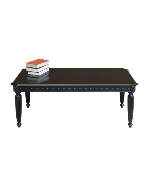 Rectangular distressed black coffee table